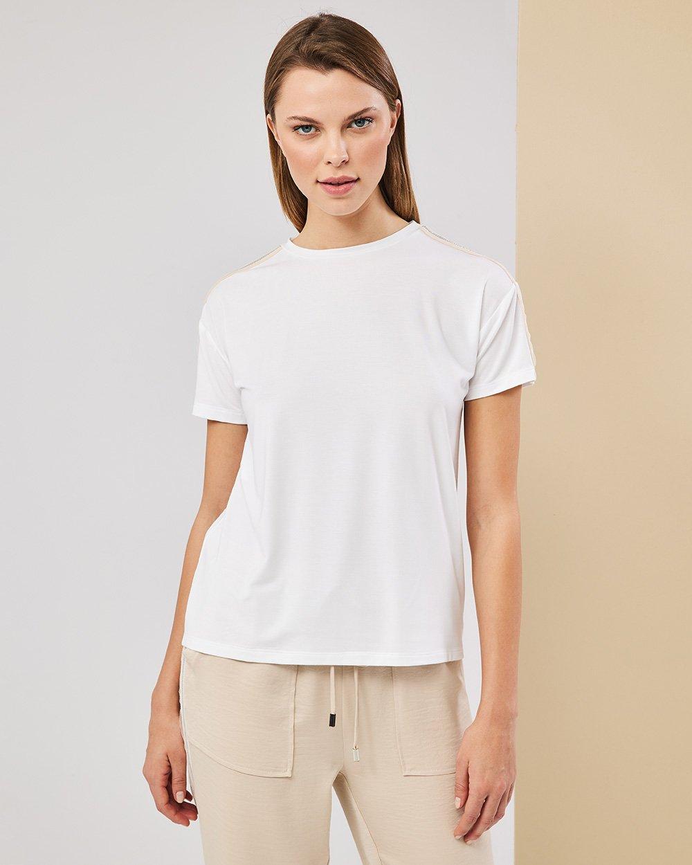 Μπλούζα με τρέσσα στο μανίκι