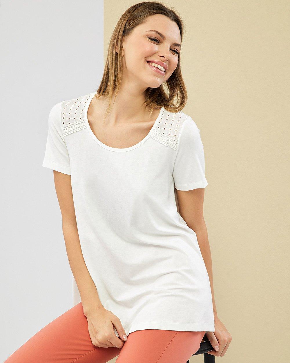 Μπλούζα βαμβακερή με δαντέλα