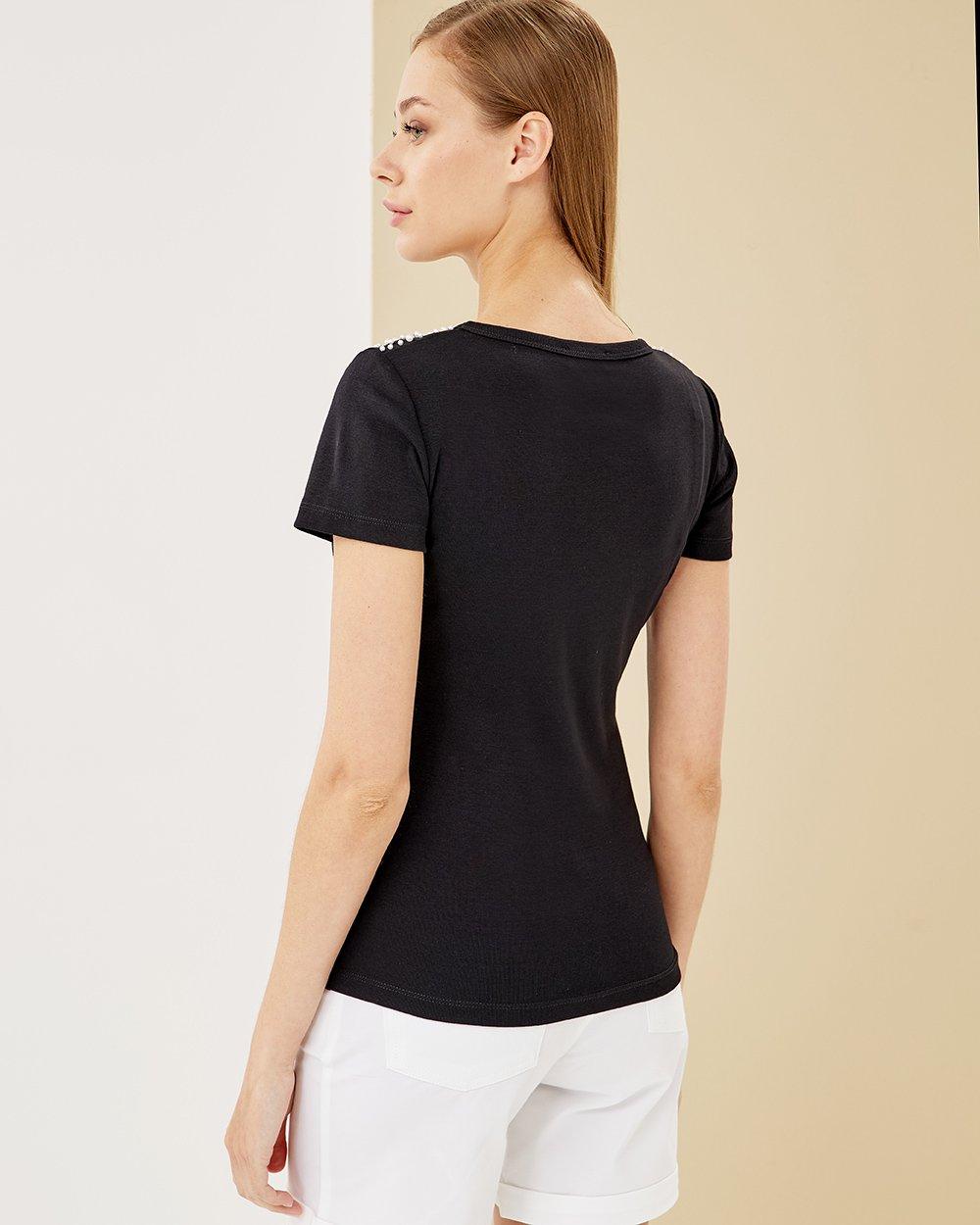 Μπλούζα βαμβακερή με κεντημένες πέρλες