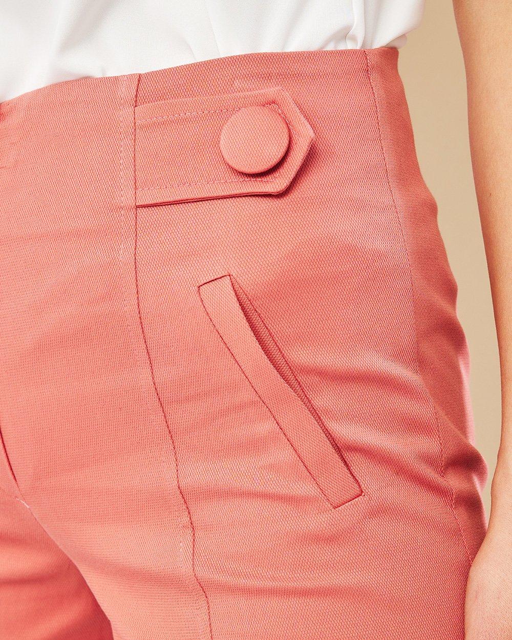 Παντελόνι πικέ crop με κουμπιά