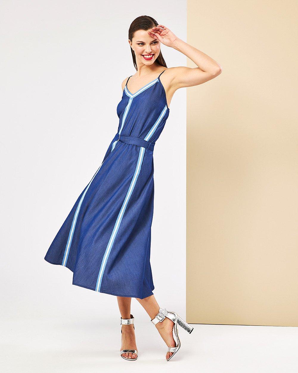 Φόρεμα τύπου τζην λοξό midi