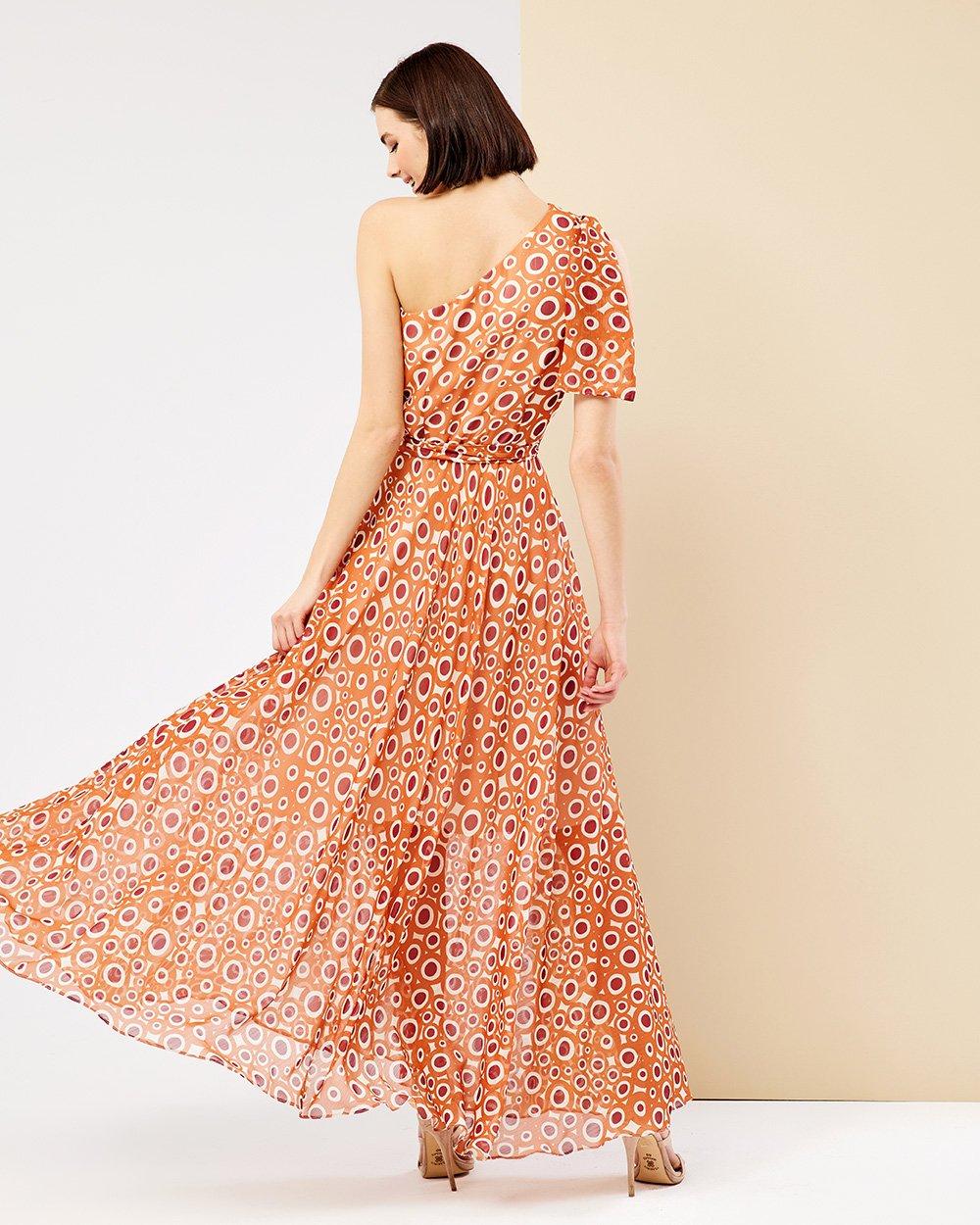 Φόρεμα μάξι πολύχρωμα πουά