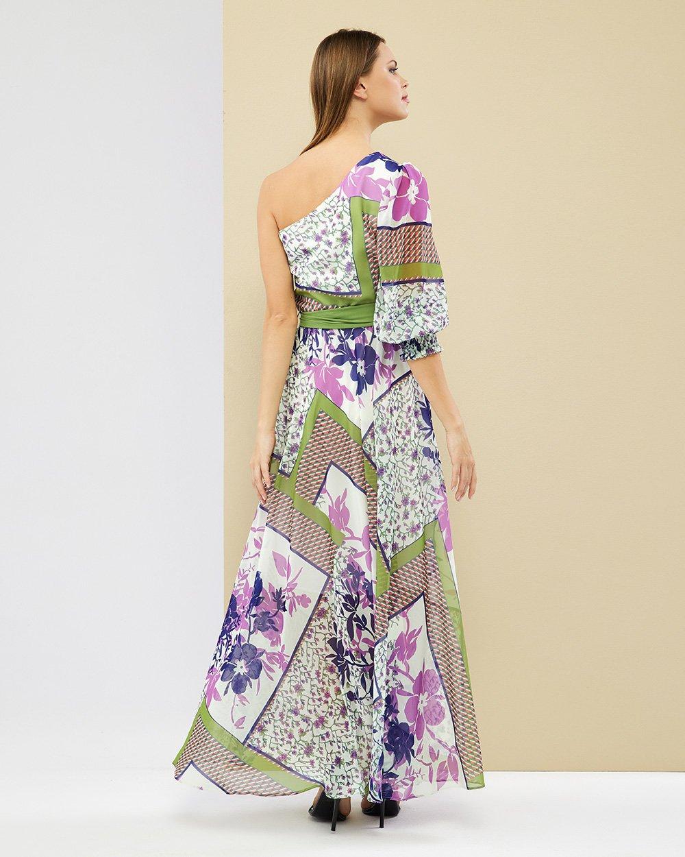 Φόρεμα μάξι φλοράλ με ένα μανίκι