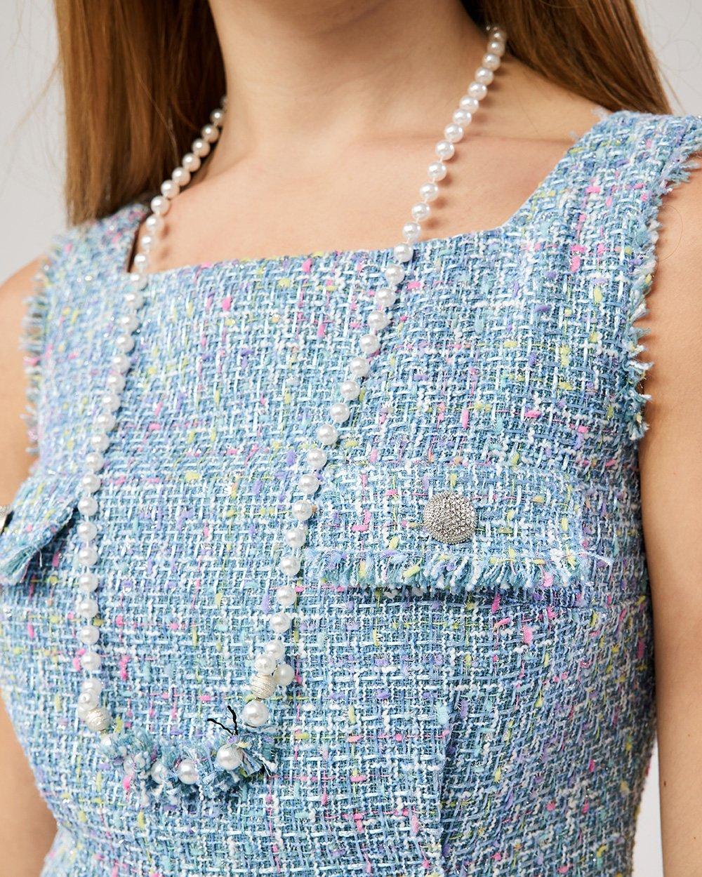 Φόρεμα αμάνικο με τσέπες στο στήθος