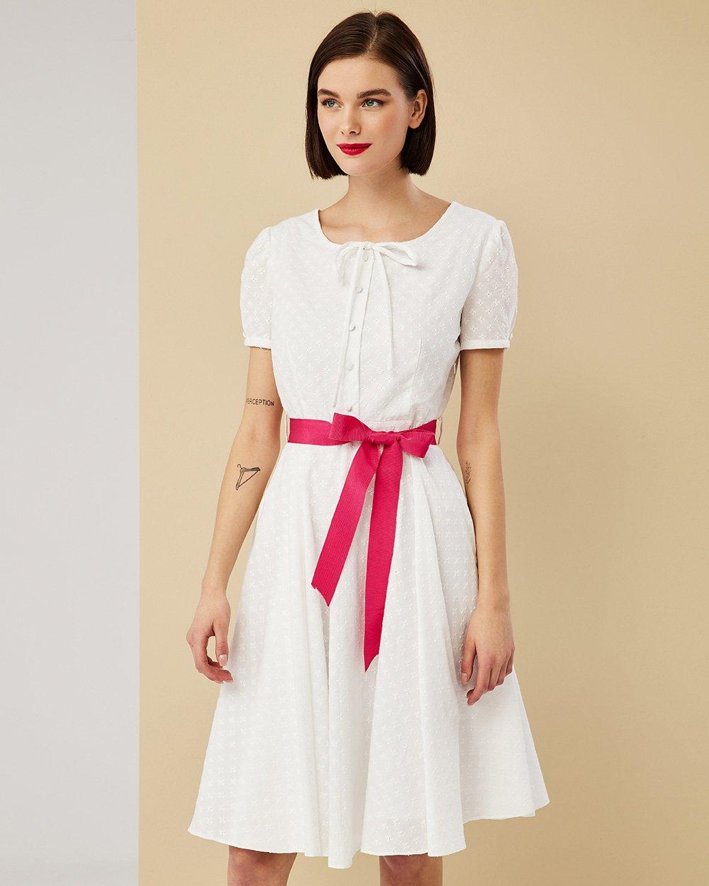 Φόρεμα ebroderie με φούξια ζώνη