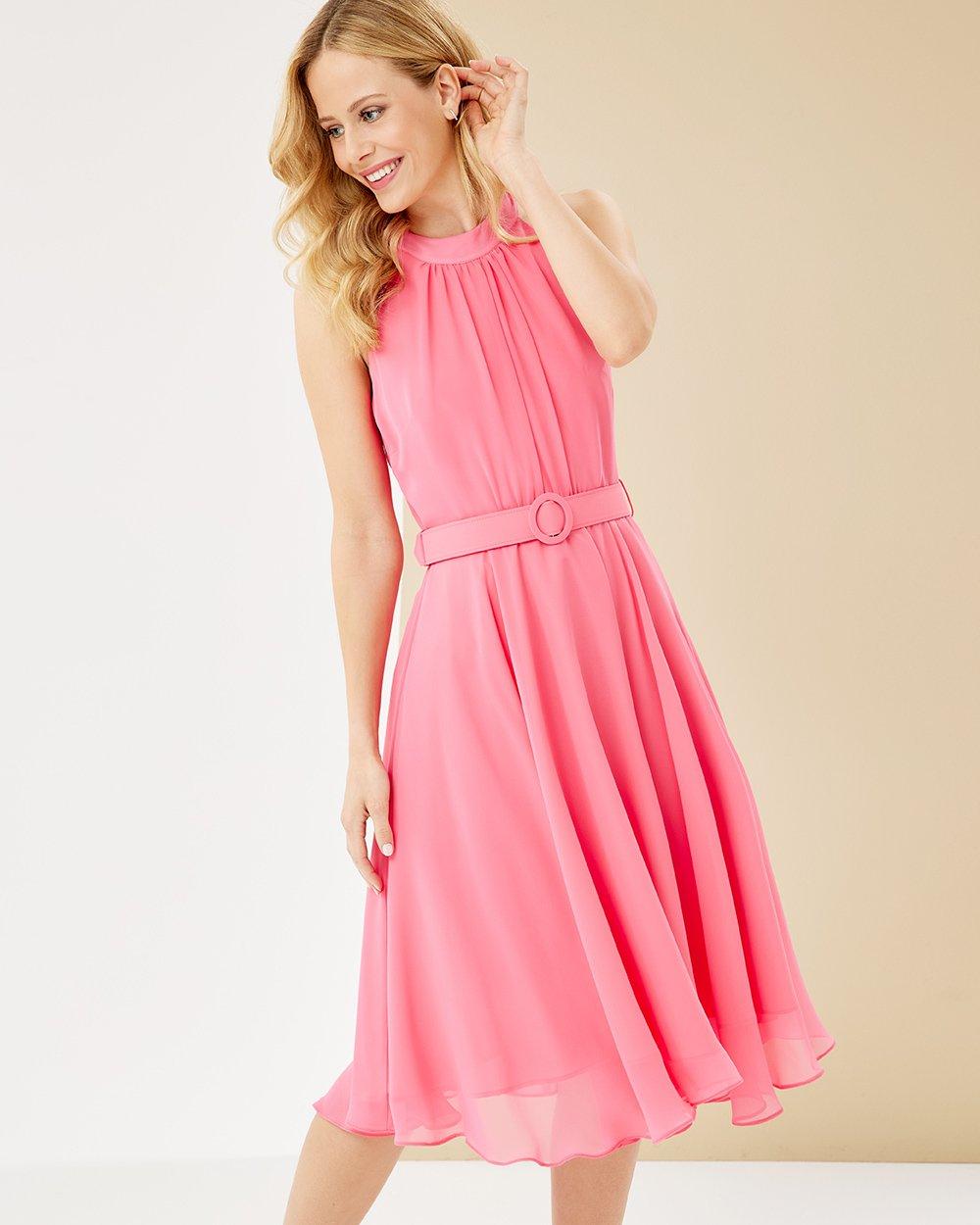 Φόρεμα midi λοξό με παρτούς ώμους