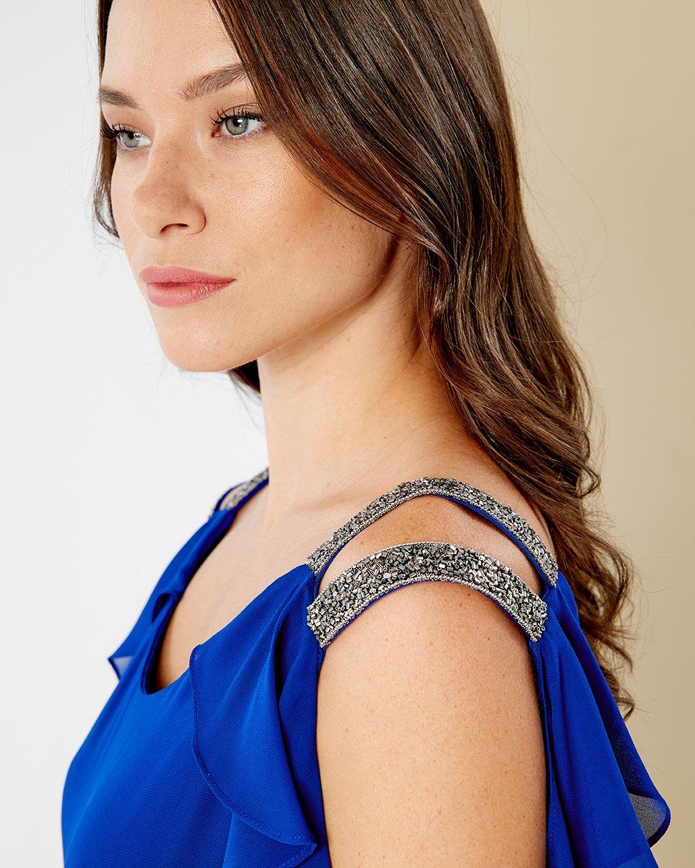 Φόρεμα μουσελίνα με στρας στους ώμους