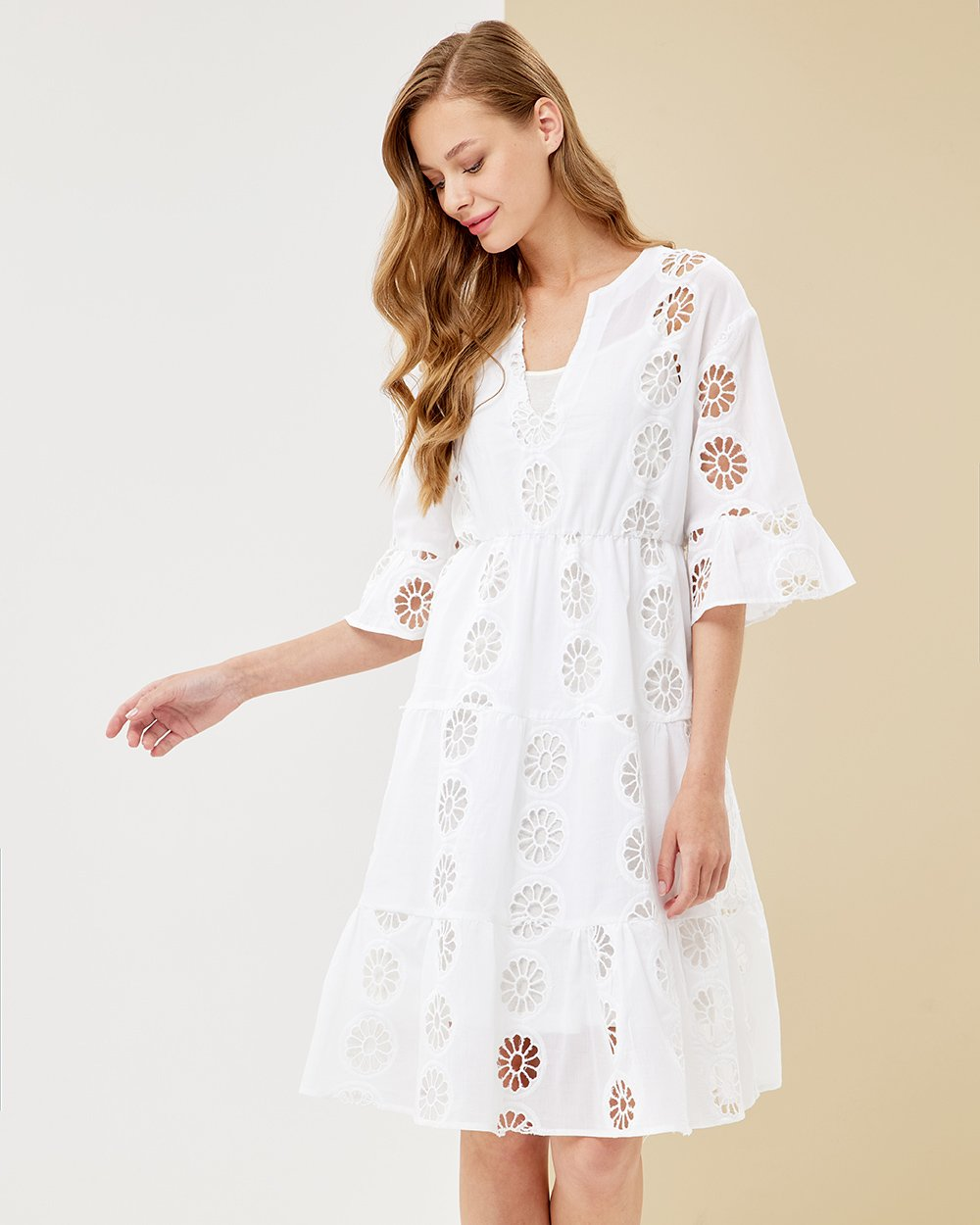 Φόρεμα κοφτό με βολάν