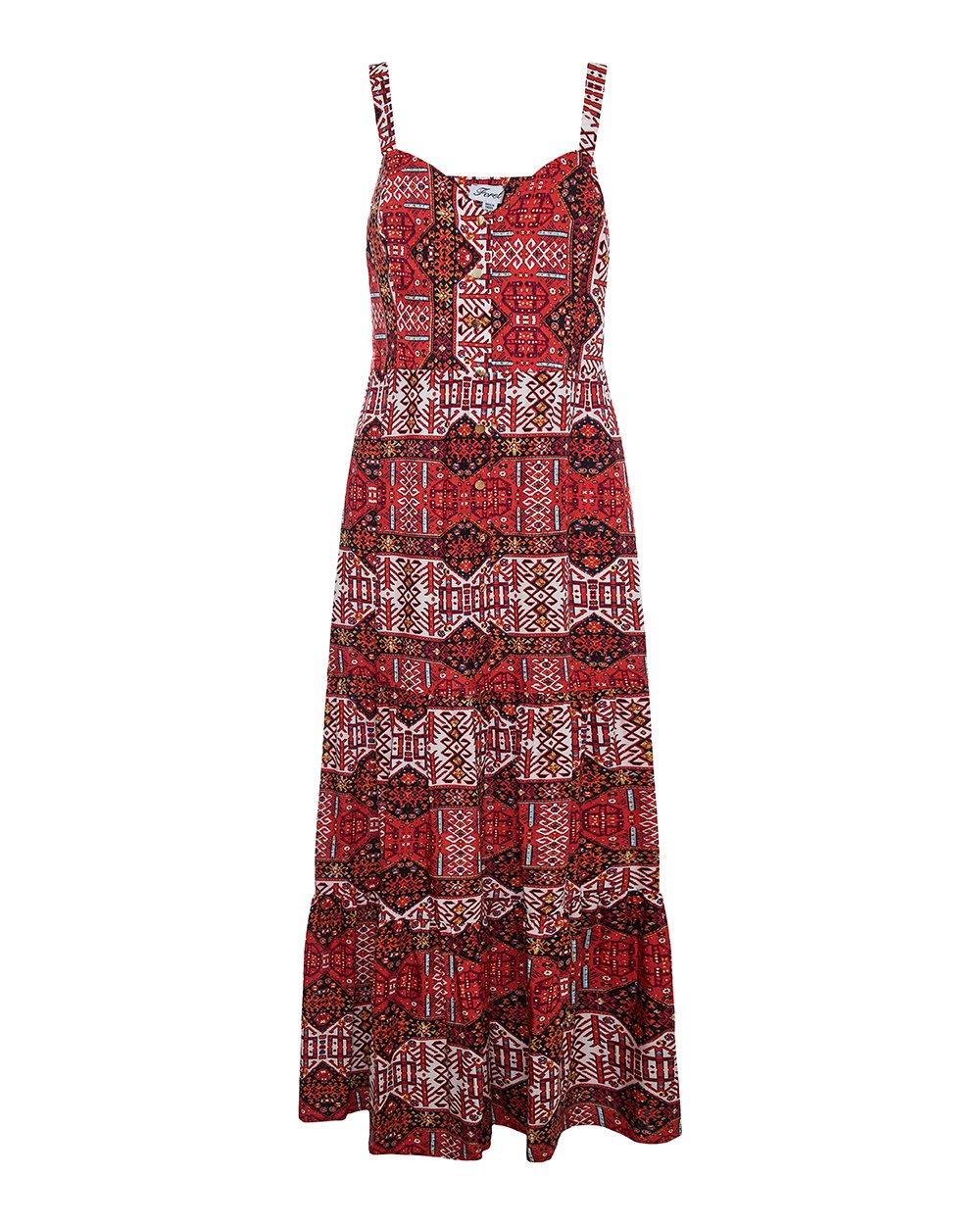 Φόρεμα εμπριμέ μάξι τιραντάκι