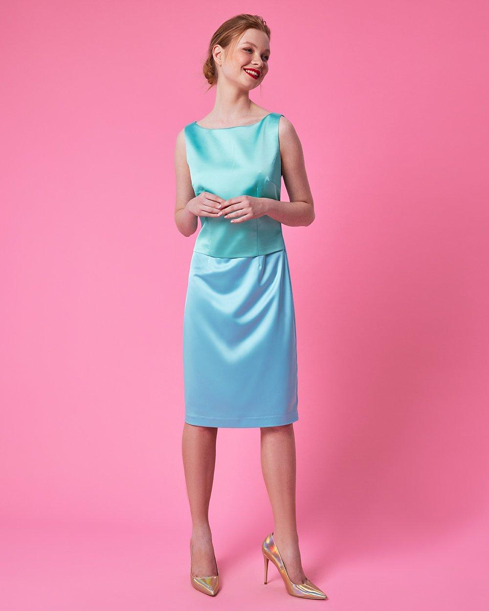 Φόρεμα midi αμάνικο pencil δίχρωμο