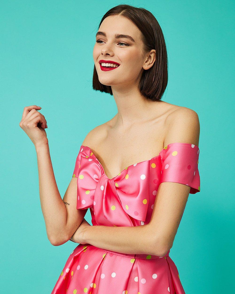 Φόρεμα πολύχρωμα πουά με μεγάλο φιόγκο στο στήθος