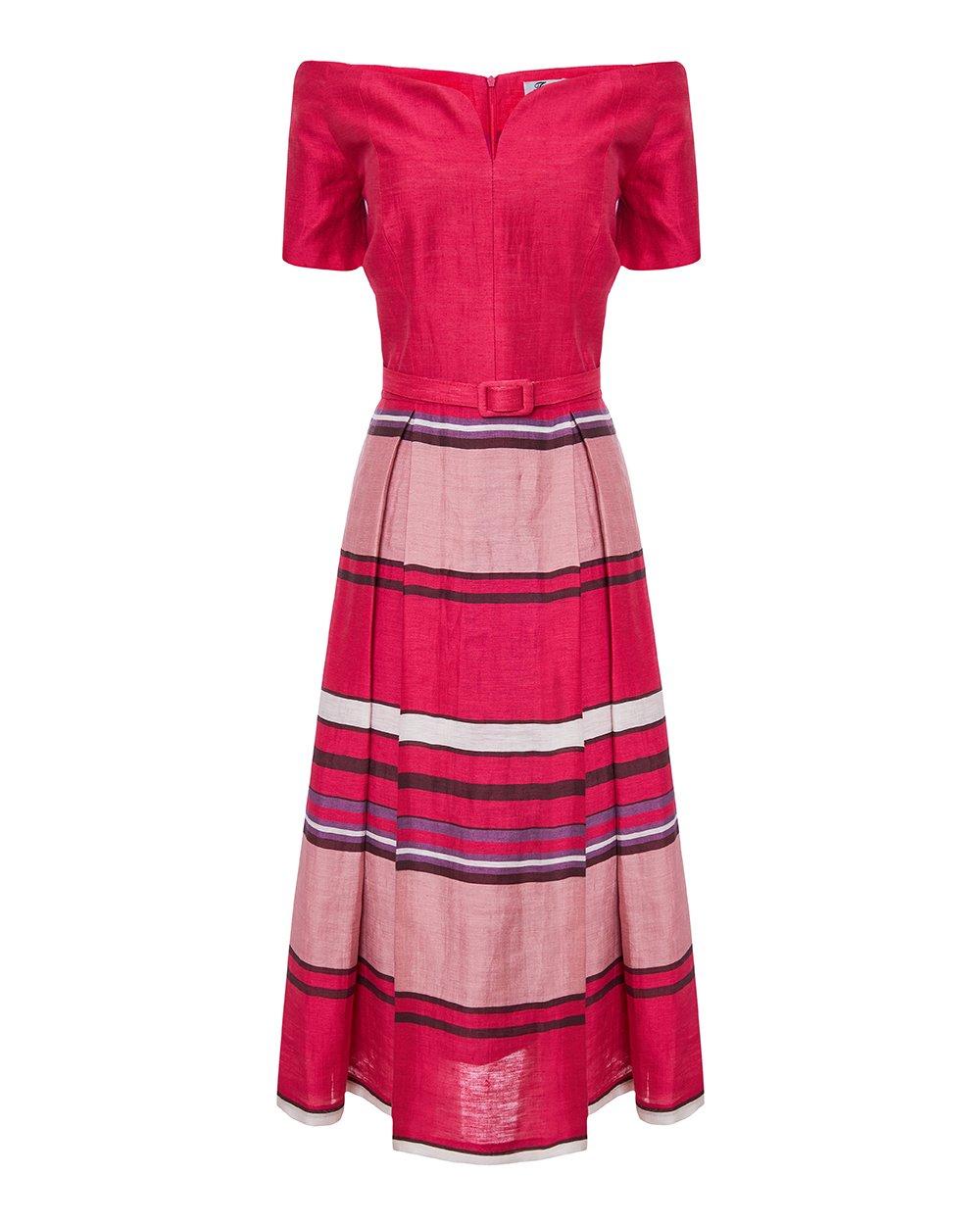 Φόρεμα ριγέ με πιέτες