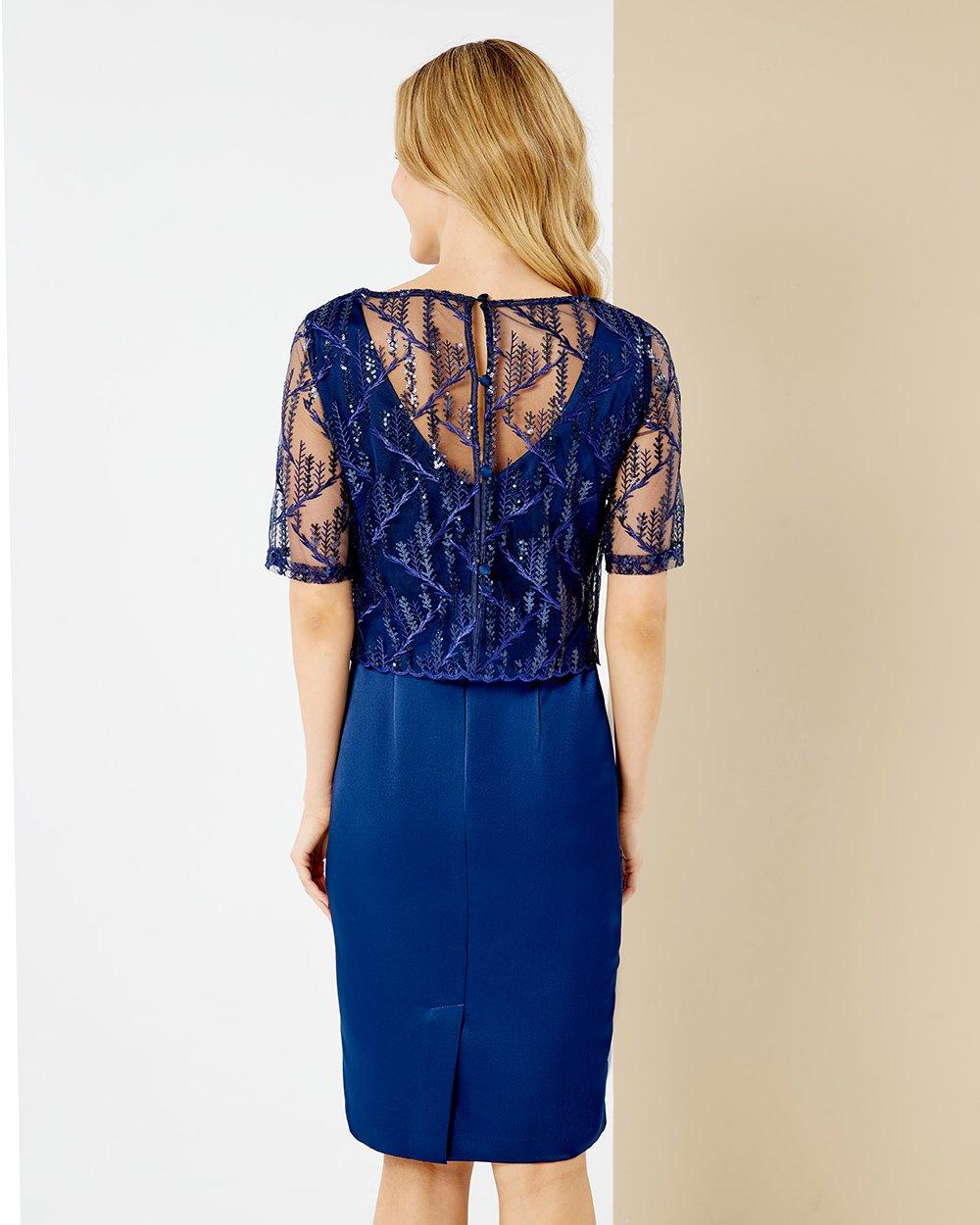 Φόρεμα σατέν με δαντέλα