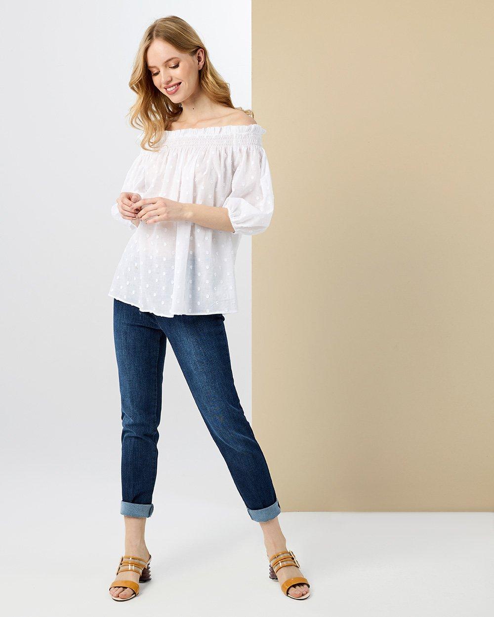 Μπλούζα έξω ώμοι με σχέδιο στην ύφανση