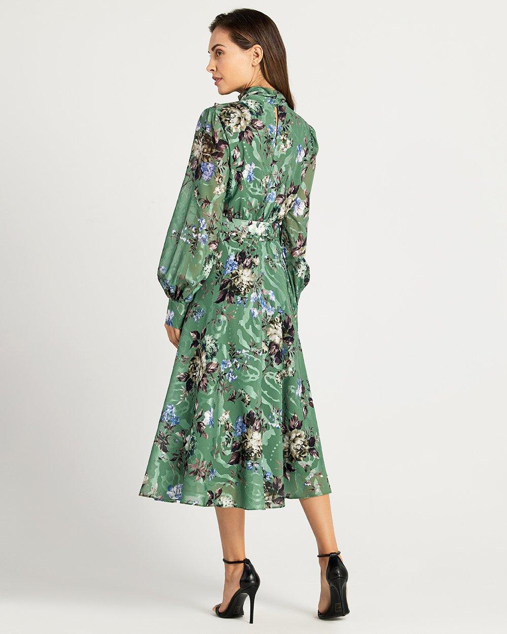Φόρεμα εμπριμέ  με δέσιμο στο λαιμό