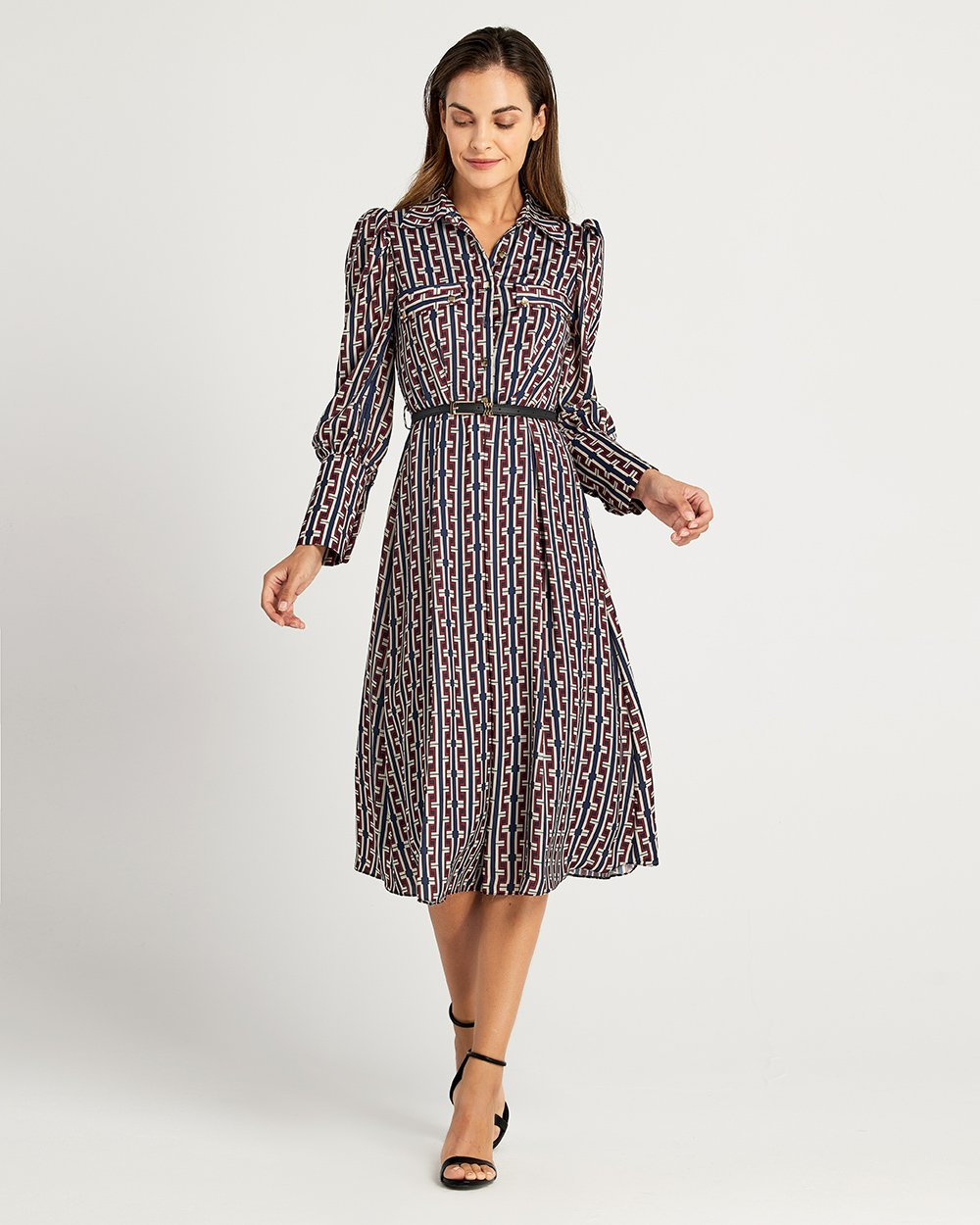 Φόρεμα σεμιζιέ με ζώνη