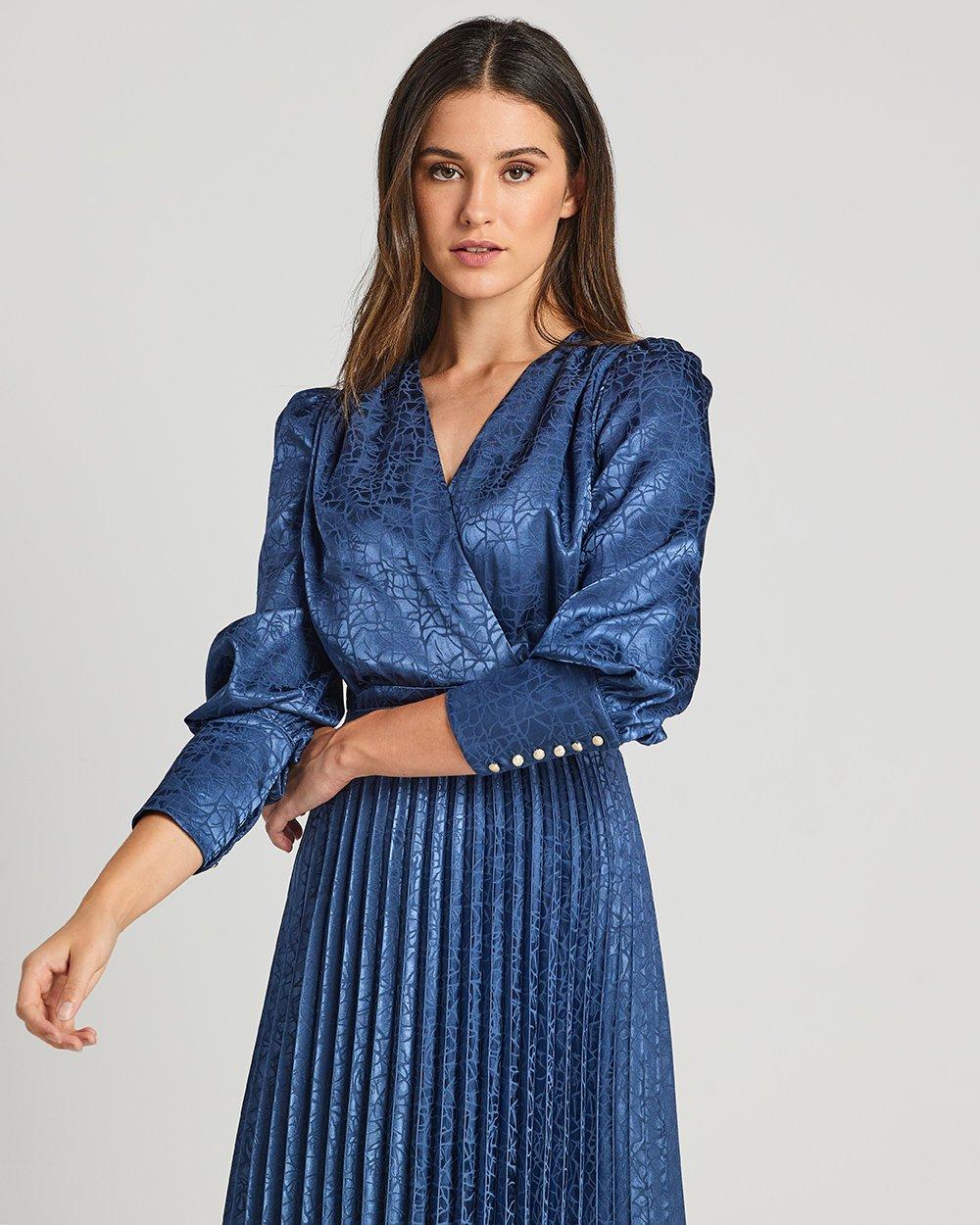 Φόρεμα κρουαζέ με πλισέ φούστα και ζώνη