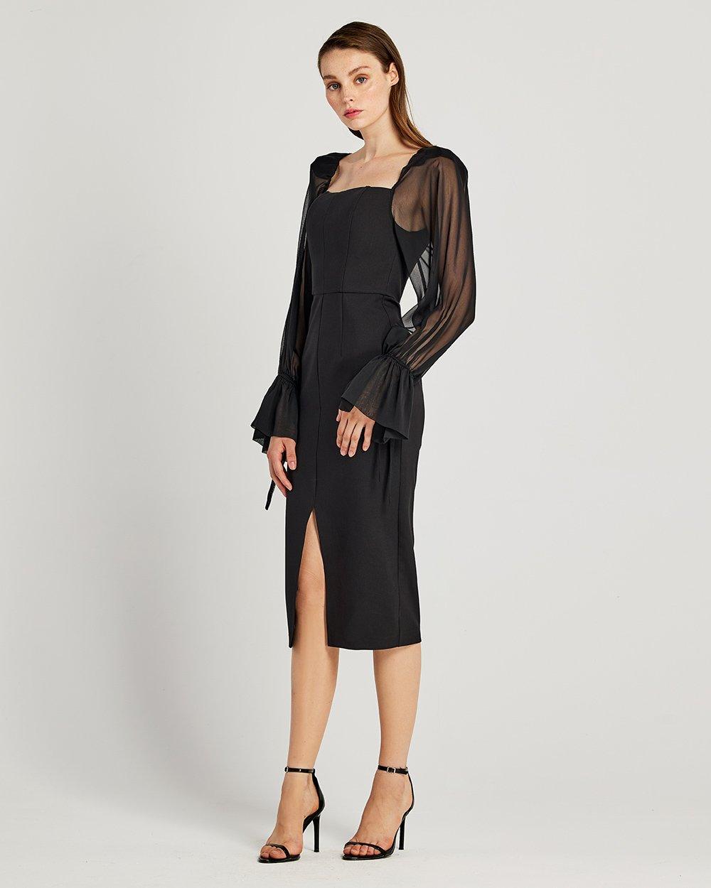 Φόρεμα pencil με διαφάνεια στα μανίκια