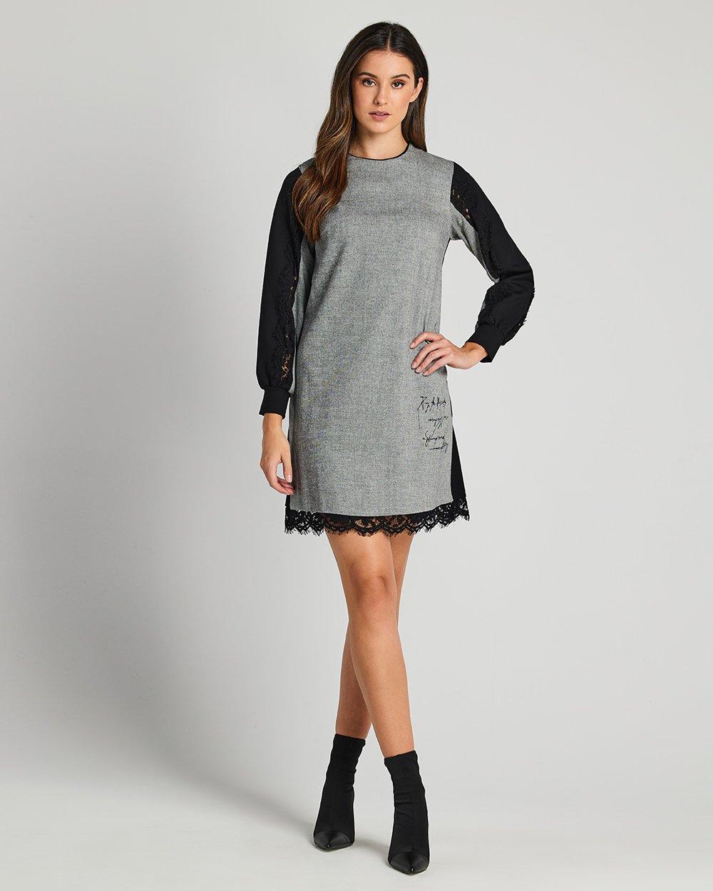 Φόρεμα με διχρωμία και δαντέλα στο τελείωμα