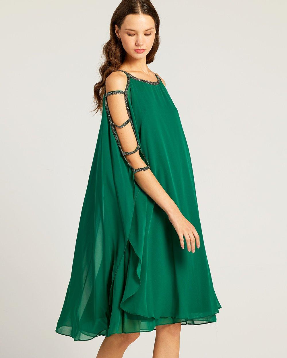 Φόρεμα αμπιγιέ με τρέσα στρας