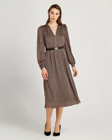 Φόρεμα σε γεωμετρικό εμπριμέ  με ζώνη