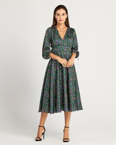 Φόρεμα εμπριμέ με λοξή φούστα