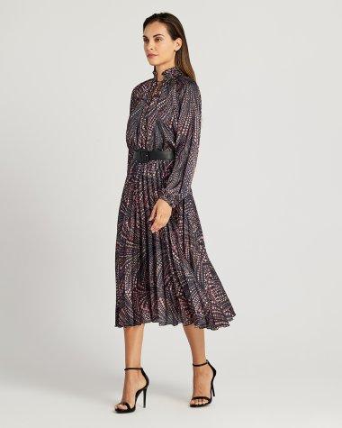 Φόρεμα εμπριμέ με ζώνη και δέσιμο στο λαιμό