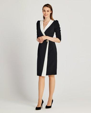 Φόρεμα κρουαζέ με διχρωμία