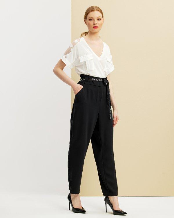 Παντελόνι με ζώνη και λάστιχο στη μέση