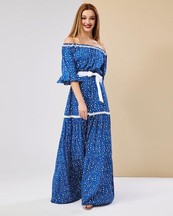 Φόρεμα πουά μάξι με βολάν