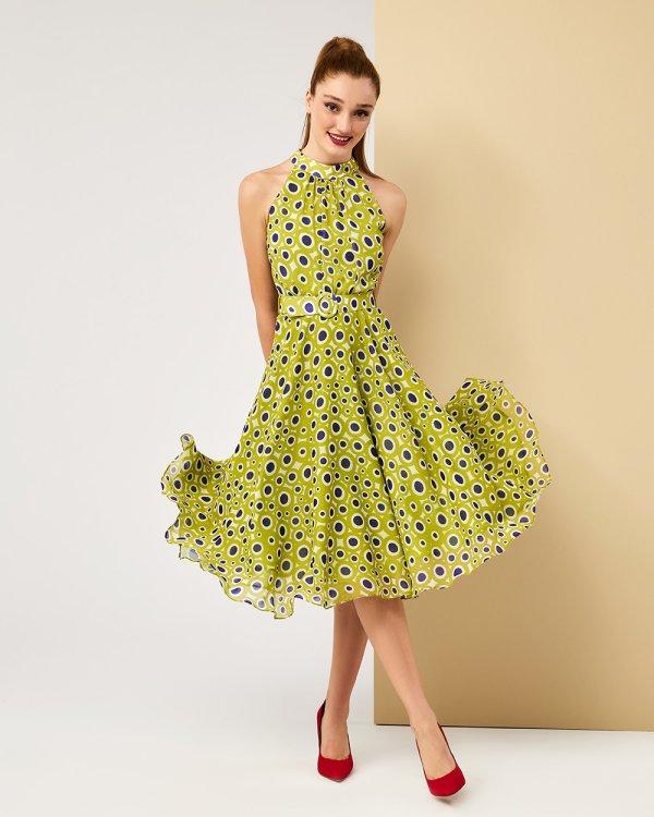 Φόρεμα midi πολύχρωμα πουά