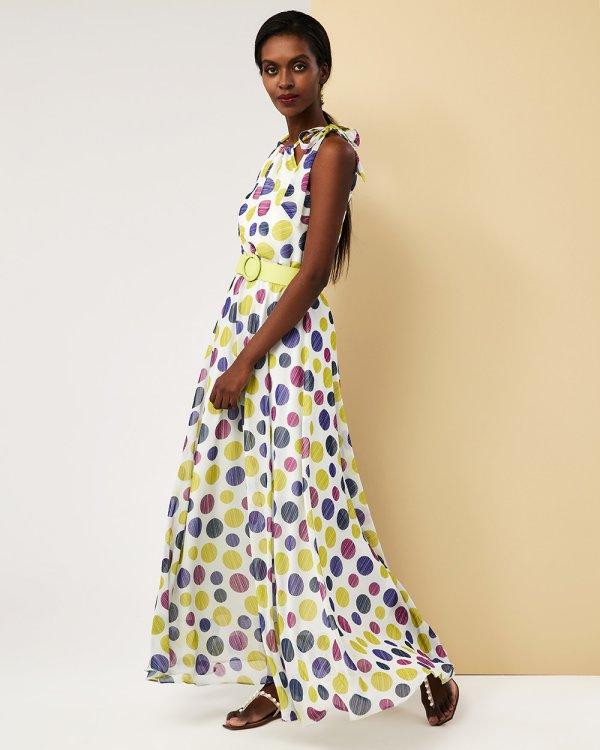 Φόρεμα μάξι παρτούς ώμους πολύχρωμα πουά