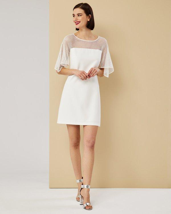 Φόρεμα μινι άλφα γραμμή με δίχτυ στο μανίκι