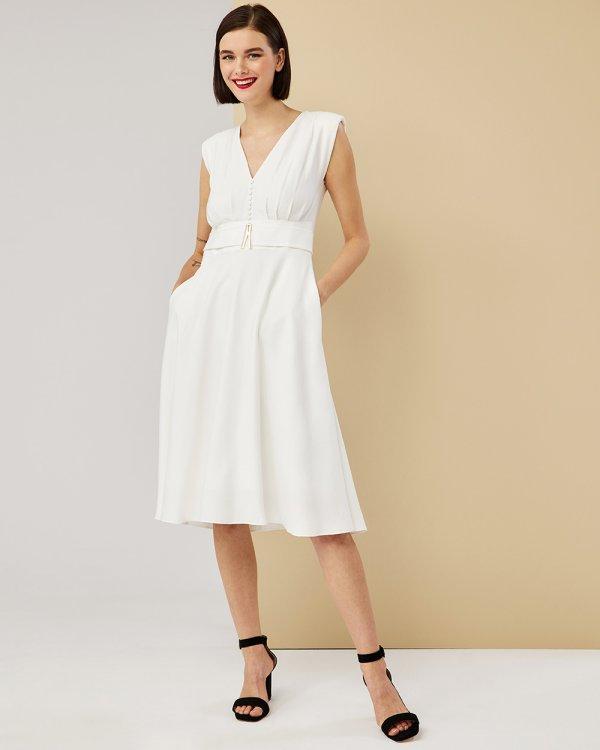 Φόρεμα midi λοξό με βάτες