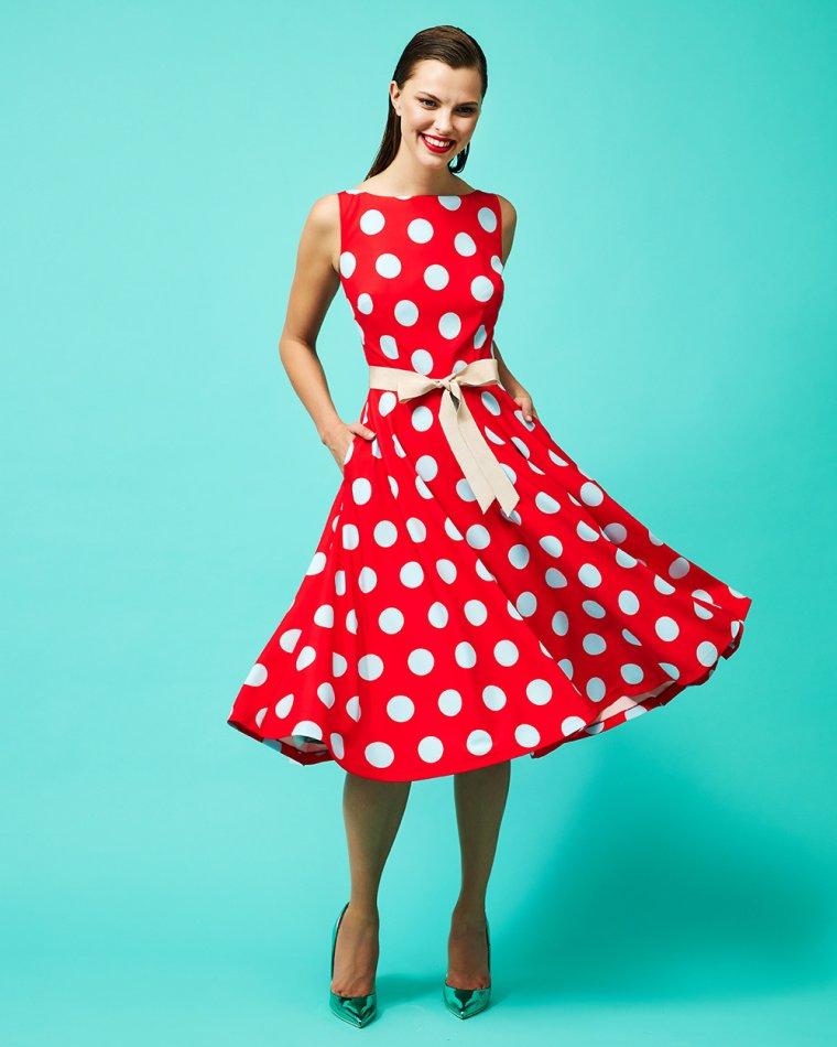 Φόρεμα πουά αμάνικο μεσάτο