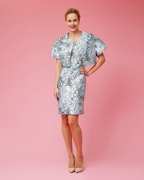 Φόρεμα κοντομάνικο pencil μπροκάρ εμπριμέ