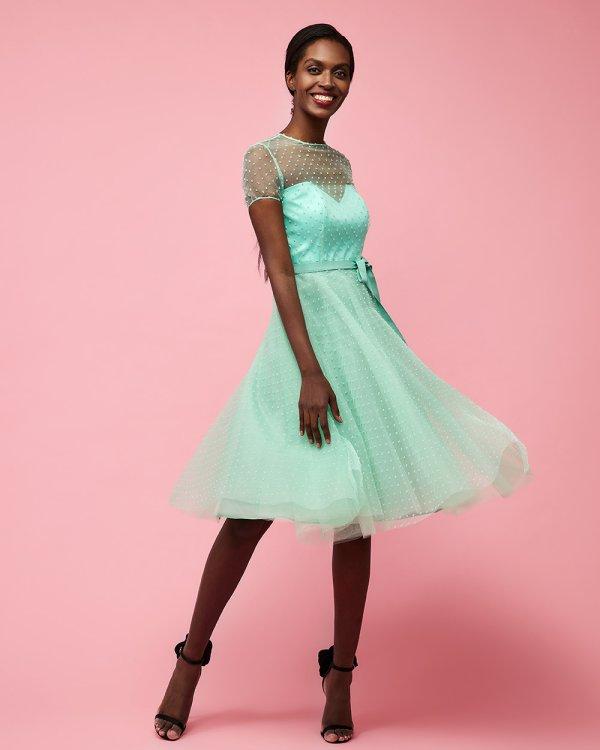 Φόρεμα με πουά διαφάνεια