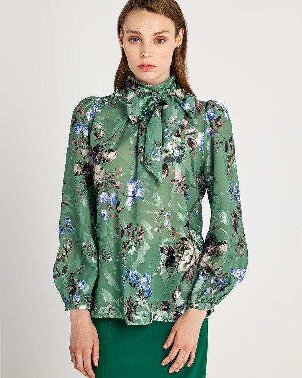 Μπλούζα floral με δέσιμο στο λαιμό