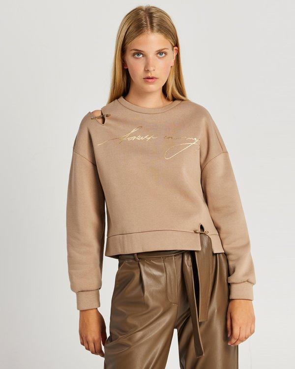 Μπλούζα φούτερ με λεκτικό τύπωμα