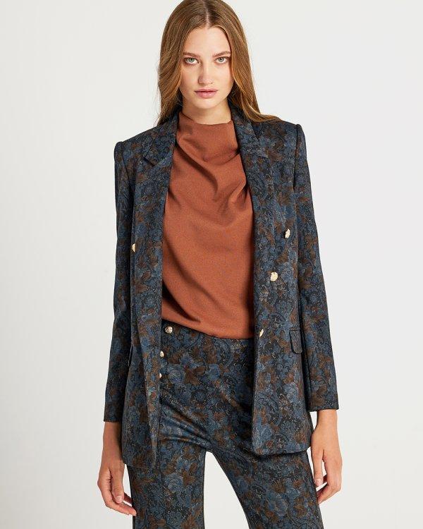 Σακάκι με σχέδιο φλοράλ και χρυσά κουμπιά