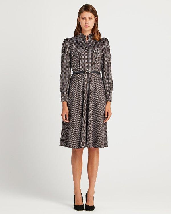 Φόρεμα εμπριμέ με ζώνη
