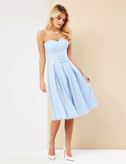 Φόρεμα στράπλες με κέντημα