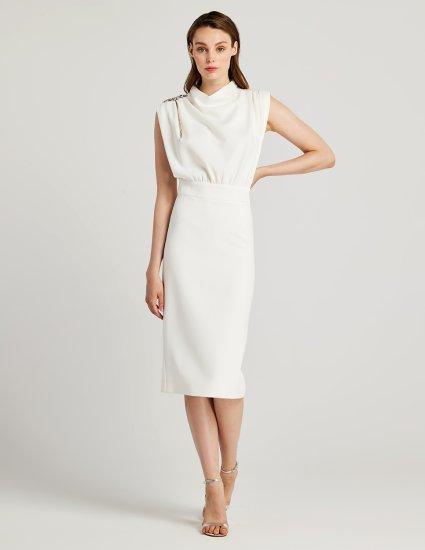 Φόρεμα ντραπέ αμάνικο pencil